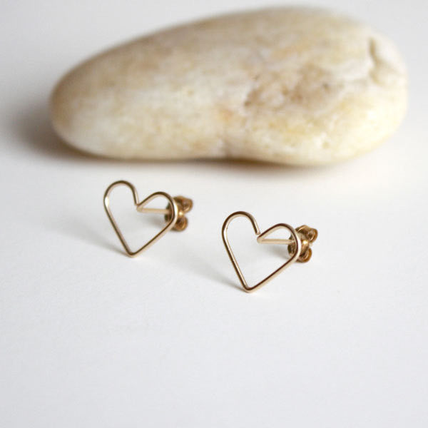 Heart Stud Earrings - Large - 14k Gold Filled