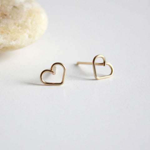 Heart Stud Earrings - Small - 14k Gold Filled