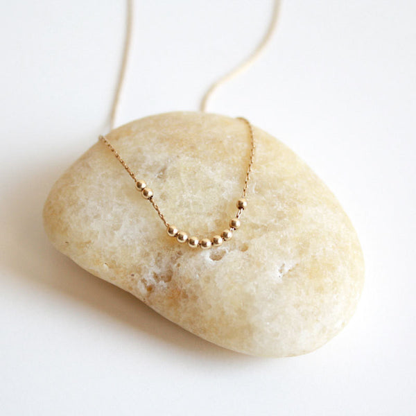 Tiny Gold Beads Necklace - 14k Gold Filled