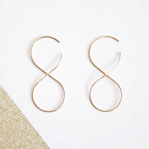 Infinity threader earrings gold filled