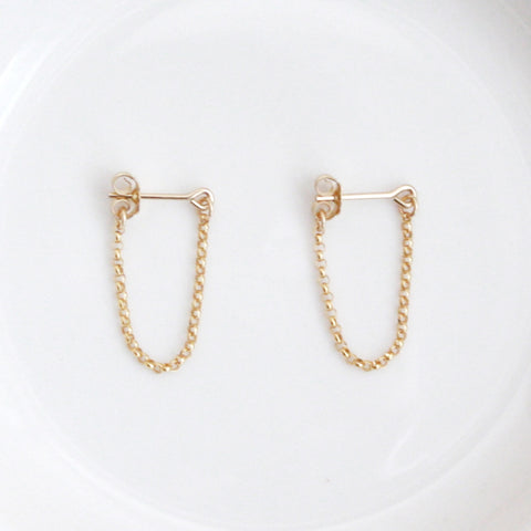 gold chain hoop stud earrings