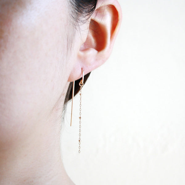 Chain Threader Earrings - Long Arc