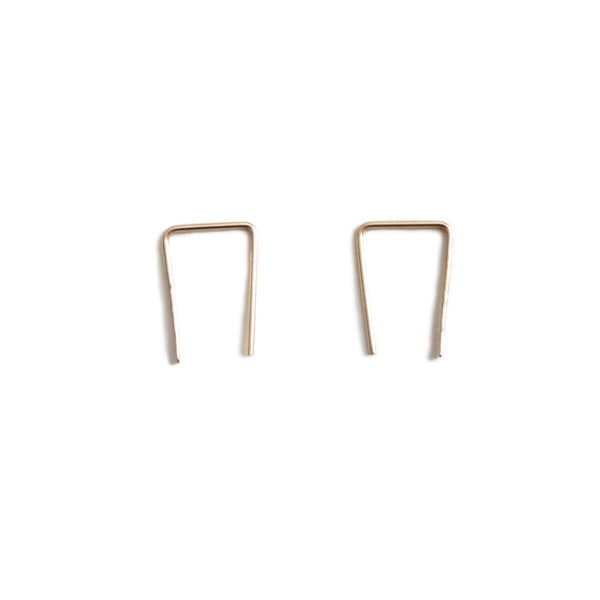 14k gold medium staple earrings