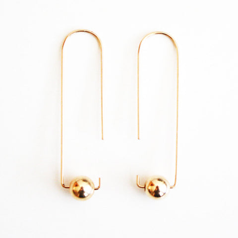 Long Hook Earrings - Metal Balls