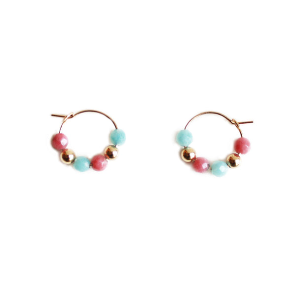 Gemstone Hoop Earrings - Multicolor