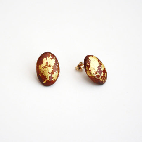 Wood Stud Earrings with Gold Leaf - Oval
