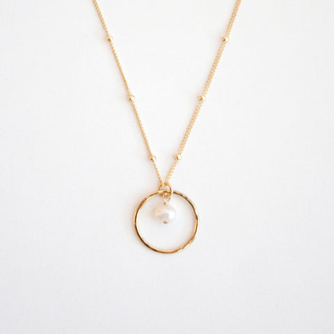 Hammered Circle Charm Necklace with Bead