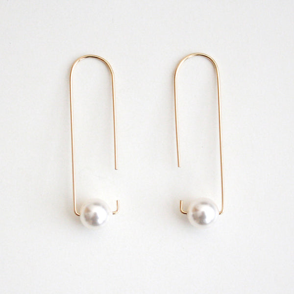 Long Hook Earrings - Pearls