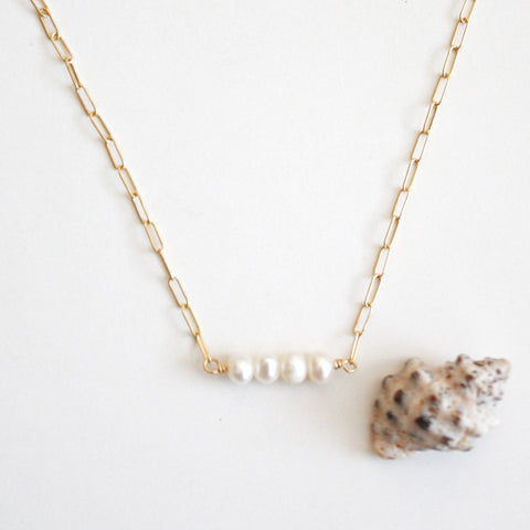 Pearl Necklace with Rectangle Chain