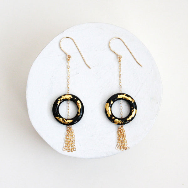 Gold Leaf Earrings - Ring & Tassel - Black