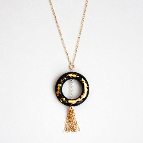 Gold Leaf Necklace - Ring & Tassel - Black