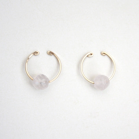 Rose Quartz Gemstone Ear Cuffs - Earrings for Non-Pierced Ears