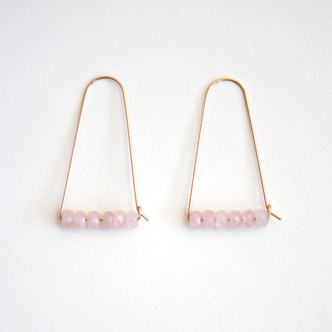 Large Mountain Hoop Earrings - Rose Quartz