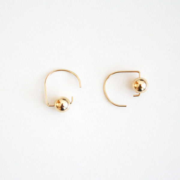 Short Hook Stud Earrings - Metal Balls