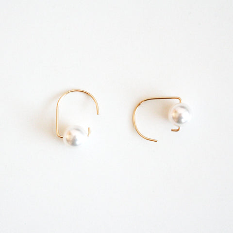 Short Hook Stud Earrings - Pearls