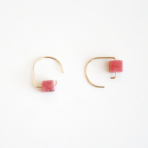 Short Hook Stud Earrings - Gemstones