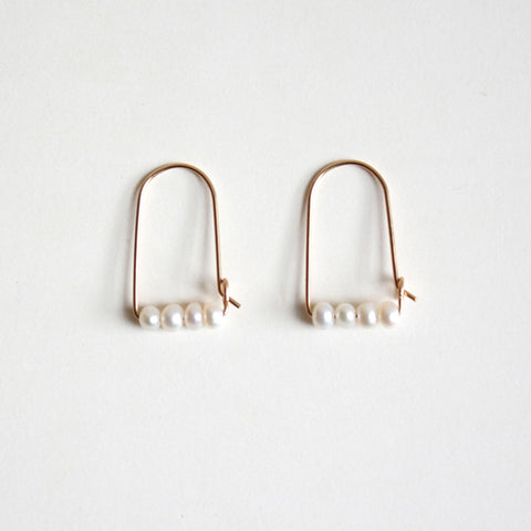 Small Mountain Hoop Earrings - Freshwater Pearls