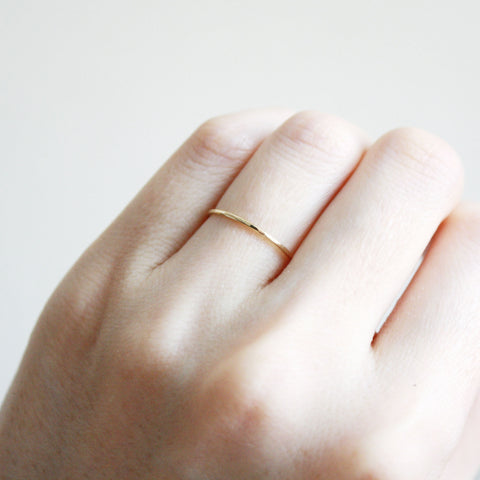 Thin Hammered Ring - 14k Solid Gold