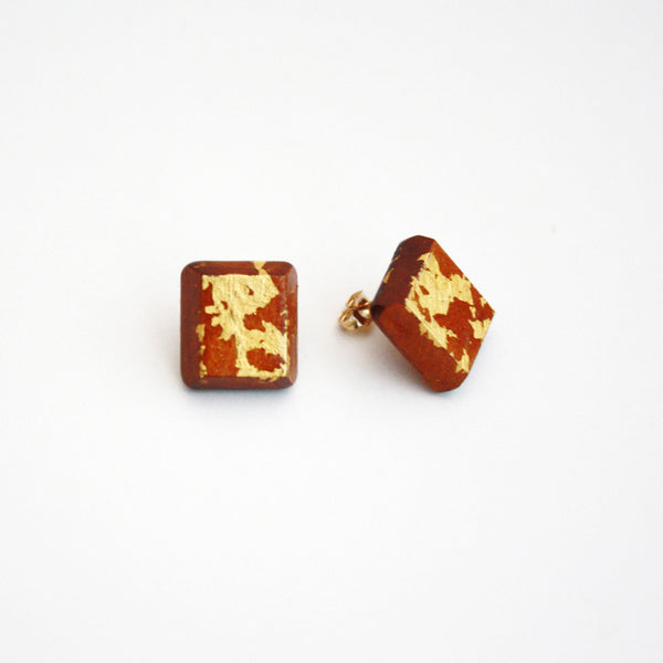 Wood Stud Earrings with Gold Leaf - Square
