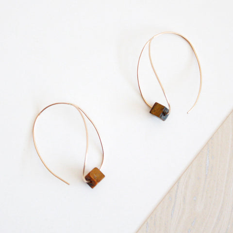 Teardrop Hoop Earrings - Tiger Eye