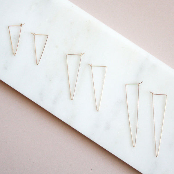 Triangle Hoop Earrings - 14k Gold Filled