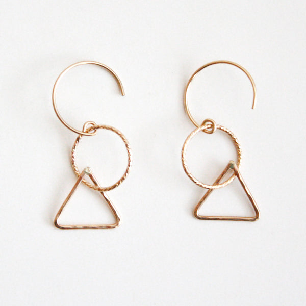 Geometric Dangle Hoop Earrings - Triangle
