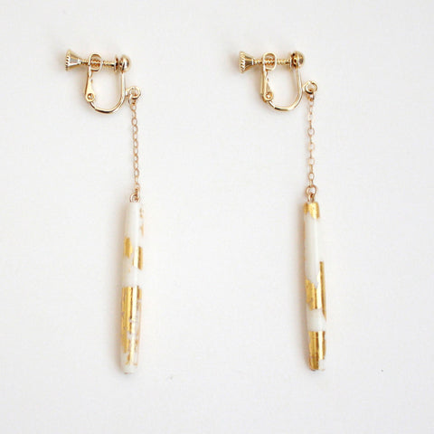 Gold Dangle Clip On Earrings - White Tube