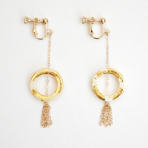 Gold Dangle Clip On Earrings - White