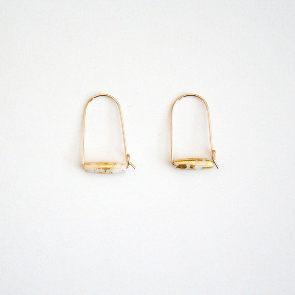 Small Mountain Hoop Earrings - Tubes with Gold Leaf