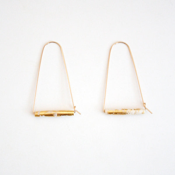 Large Mountain Hoop Earrings - Tubes with Gold Leaf