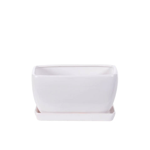 Rectangular Matte White Pottery