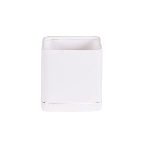 Square Matte White Pottery