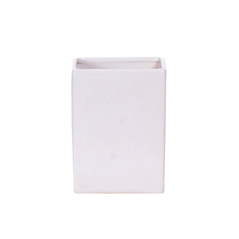 Rectangular Matte White Pottery Vase