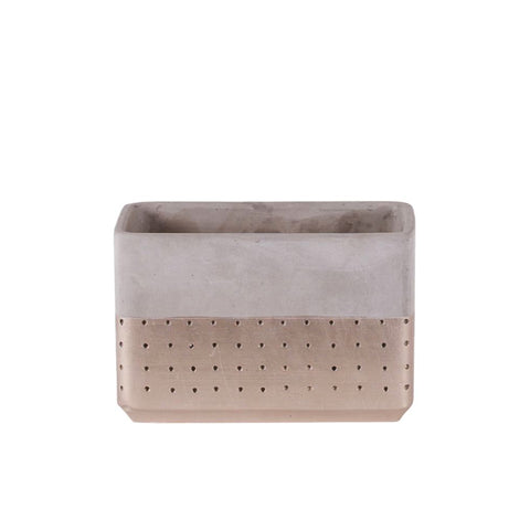 Rectangular/Square Gold Dipped Cement Planter