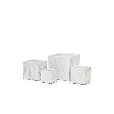Black And White Marble Square Pot