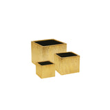 Etched Metallic Cube Planters- Gold