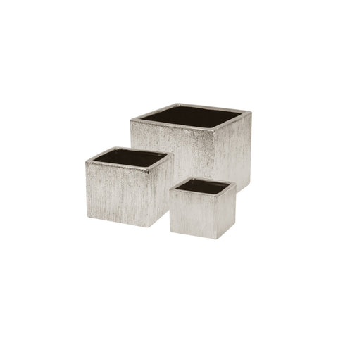ETCHED METALLIC Cube Planter- Silver