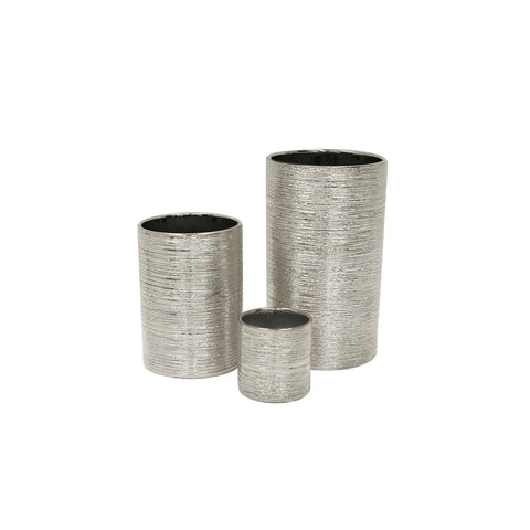 Etched Metallic Cylinders Silver