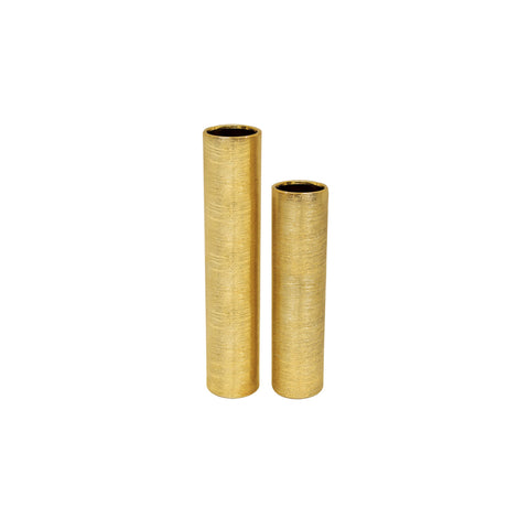Etched Metallic Cylinder Tall Gold