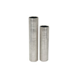 Etched Metallic Cylinder Tall Silver