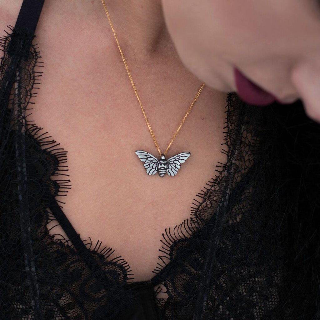 Two-Tone Moth-Necklace-Peaks & Prairies Jewellery