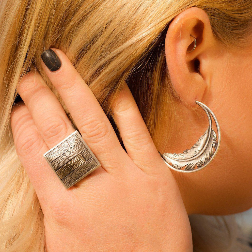 Two-Tone Wood Grain-Ring-Peaks & Prairies Jewellery