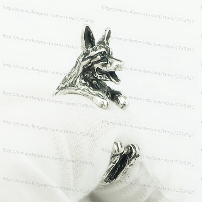 Handmade cute animal wrap Ring / Antique Silver/bronze /black colour German Shepherd Dog Wrap Rings R0830