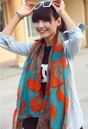 1PC 100*180cm  New Fashion Winter Hot sale big Flower Peddles Printed Woman Cotton scarf V10A18163
