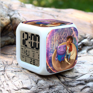 1pcs New 2016 Dreamworks Movie HOME OH Boov Alien Alarm Clock Colorful PVC 8cm Calendar Thermometer Digital Led Gifts