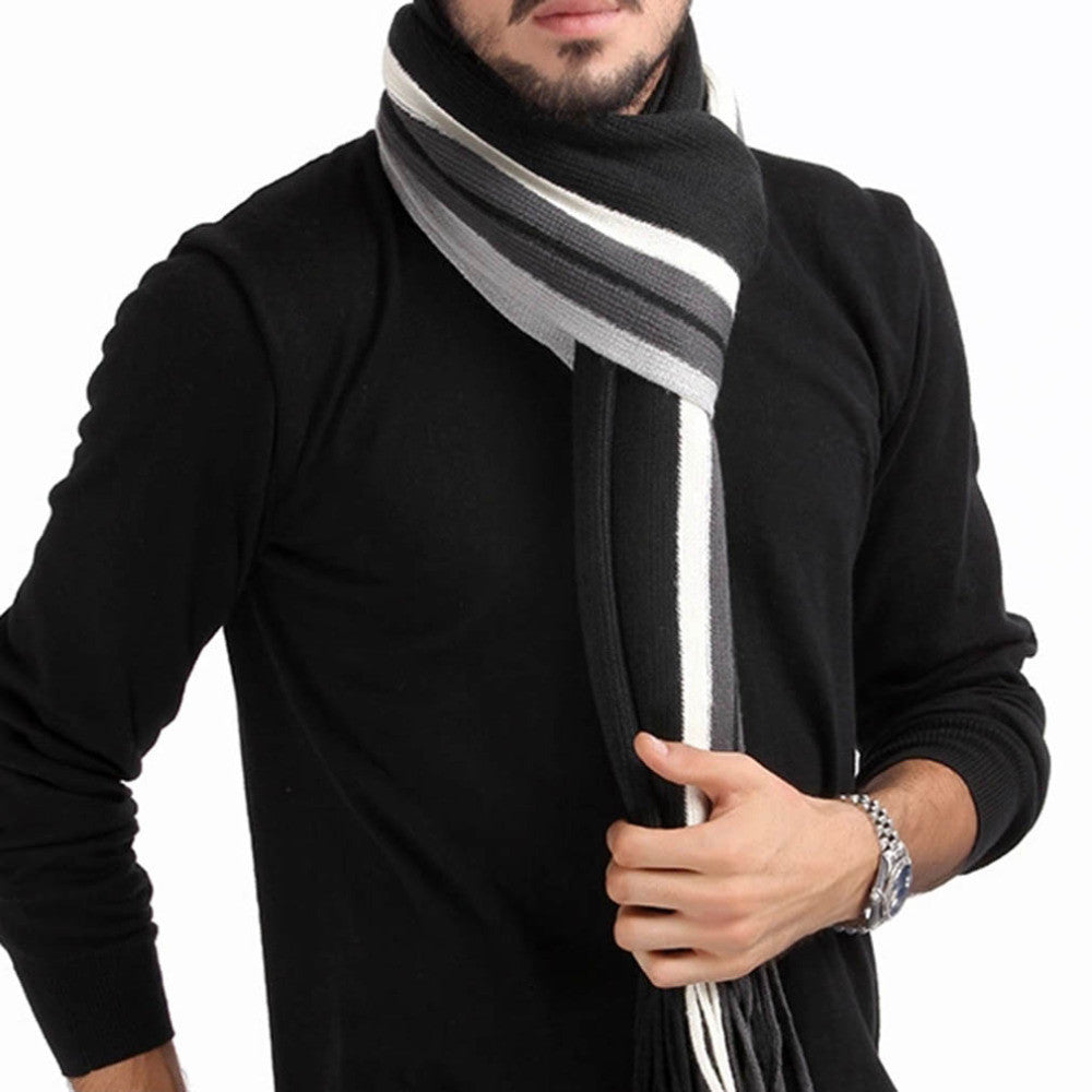 2015 fashion designer Men Classic Cashmere Scarf Winter Warm Soft Fringe Striped Tassel Shawl Wrap striped scarf men scarves
