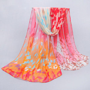 2015 womens fall fashion desigual scarves women thin long georgette silk shawl leaf print shawl and scarves 160*50cm
