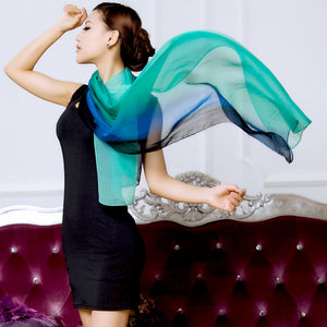 2016 spring new 100% Mulberry real silk scarf women gradient  color Fashion Hot Sale Long Scarves Shawl wrap Female 180x70cm