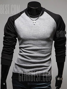Round Neck Raglan Sleeve Color Block Sweatshirt For Men