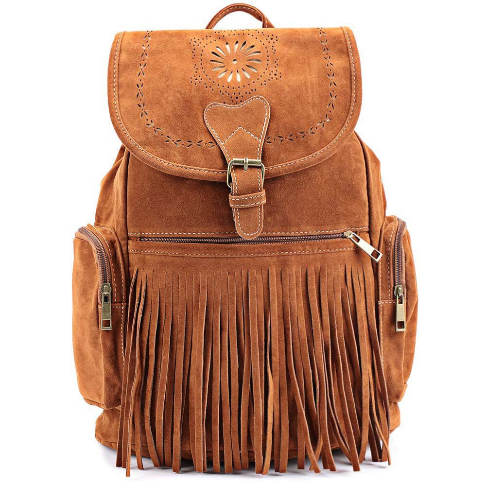 Retro Women's Satchel With Engraving and Fringe Design